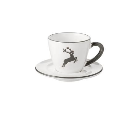 Tasse à espresso avec sous-tasse Cerf Gris Gourmet