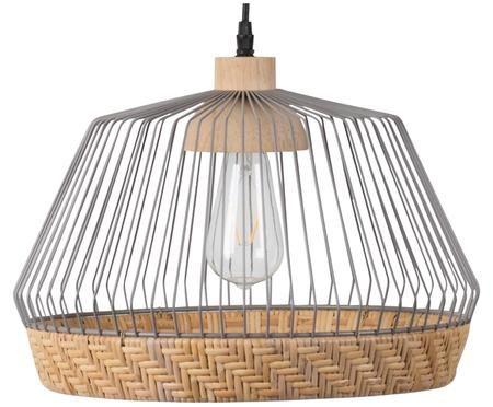Lámpara de techo de ratán y metal Birdy