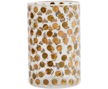 Mundgeblasene Vase Dolivia mit echten Blättern