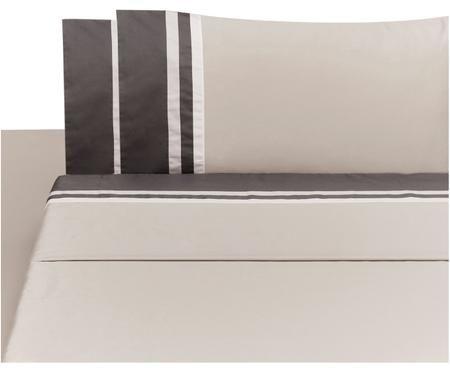 Completo letto in raso di cotone Kubric con lenzuolo sopra, 4 pz.
