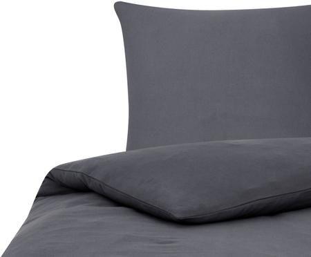 Einfarbige Flanell-Bettwäsche Biba in Dunkelgrau