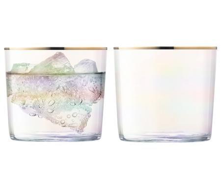 Mundgeblasene Wassergläser Sorbet mit Goldrand, 2er-Set