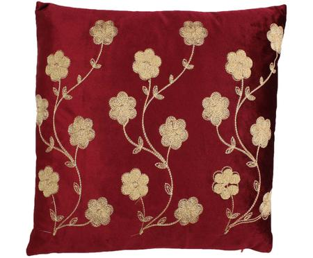 Cojín bordado de terciopelo Flower, con relleno