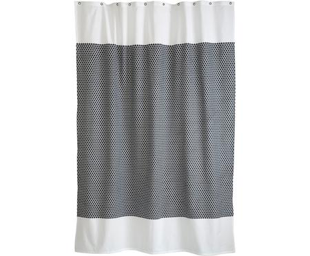 Schmaler Duschvorhang Grid aus Baumwoll-Mix
