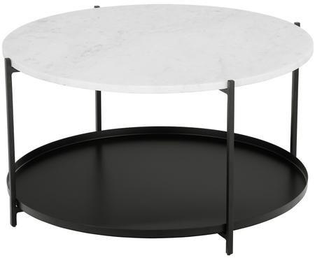 Table basse ronde en marbre Victoria, avec tablette