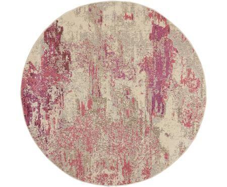 Rond design vloerkleed Celestial in roze-beige