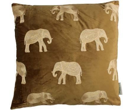Gold besticktes Samt-Kissen Elephant in Braun, mit Inlett