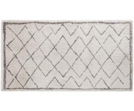 Hochflor-Teppich Grace Diamond mit Rautenmuster, Grau-Creme