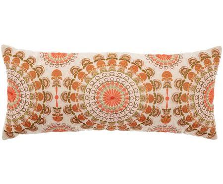 Długa haftowana poduszka Arum, z wypełnieniem