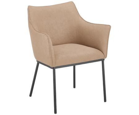Krzesło z podłokietnikami ze sztucznej skóry Cecil