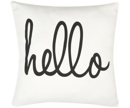 Kissenhülle Hello mit Schriftzug in Schwarz/Weiß