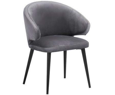 Krzesło z podłokietnikami z aksamitu Celia
