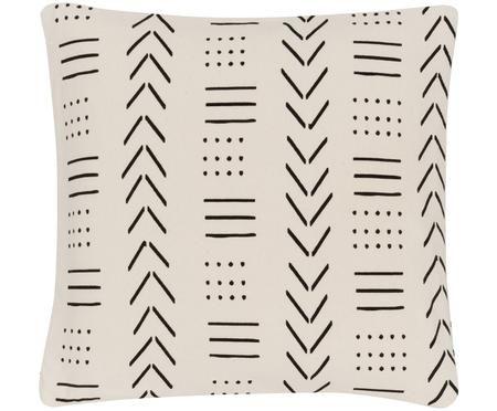 Kissenhülle Moki mit grafischem Muster in Ecru/Schwarz