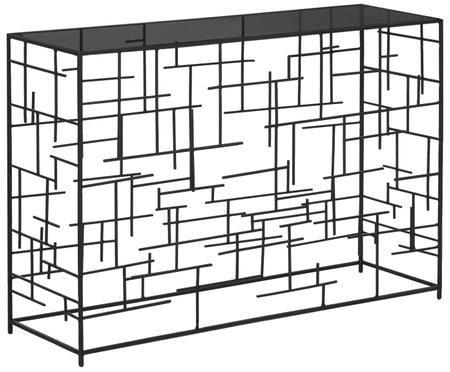 Sidetable Nola van glas en zwart metaal