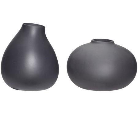 Vasen-Set Nokka aus Keramik in Dunkelgrau, 2-tlg.