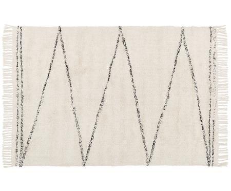 Handgetufteter Baumwollteppich Asisa mit Zickzack-Muster