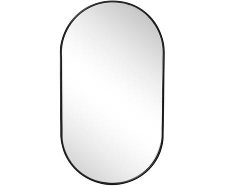 Specchio da parete Pelle, metallo, nero