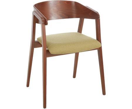 Sedia con braccioli Klara in legno di faggio, scuro