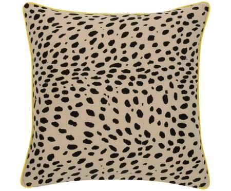 Kissenhülle Leopard mit gelbem Keder