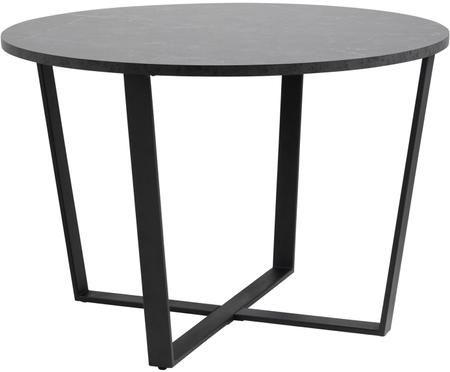 Tavolo da pranzo rotondo Amble con piano d'appoggio in effetto marmo