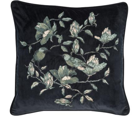 Vyšívaný sametový polštář skvětinovým vzorem Colibri, svýplní