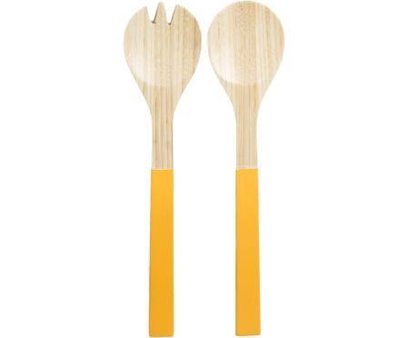 Bambus Salatbesteck Panda mit gelben Griffen, 2er-Set