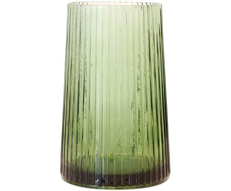 Glas-Vase Ribbed in Grün