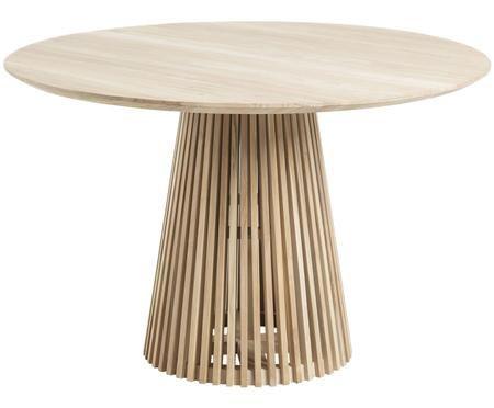 Tavolo da pranzo rotondo in legno massiccio Jeanette in design scandi