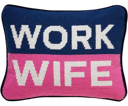 Kleines handbesticktes Designer-Kissen Work Wife, mit Inlett