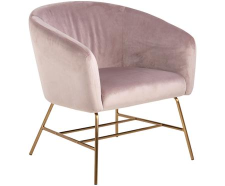 Moderner Samt-Loungesessel Ramsey in Rosa
