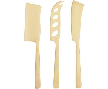 Set di coltelli da formaggi dorato Art in acciaio inossidabile, 3 pz.