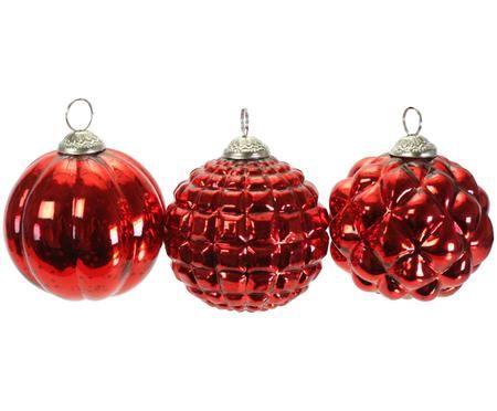 Weihnachtskugel-Set Red Variety, 3-tlg.