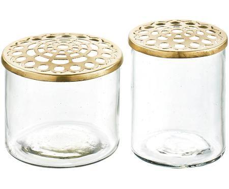 Kleines Vasen-Set Kastanje mit Metalldeckel, 2-tlg.