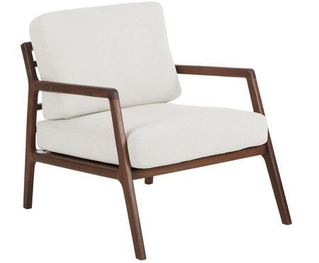 Fotel z podłokietnikami z drewna orzecha włoskiego Becky
