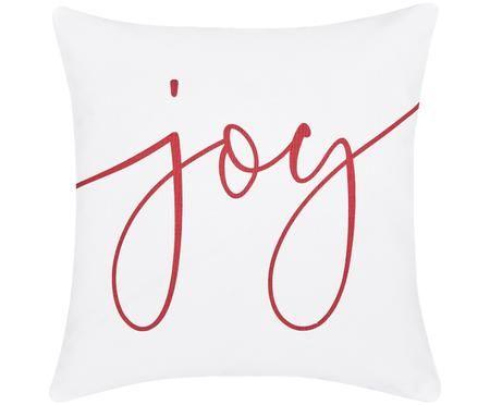 Kissenhülle Joy mit Schriftzug in Weiß-Rot
