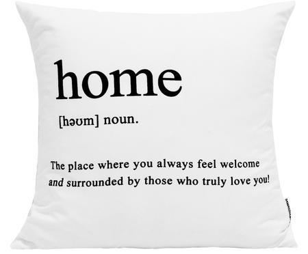 Kissenhülle Home mit Schriftzug in Schwarz/Weiß