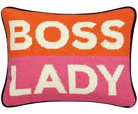 Kleines handbesticktes Designer Kissen Boss Lady, mit Inlett
