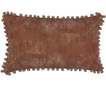 Housse de coussin rose en velours, avec pompons Avoriaz