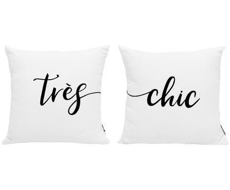 Kussenhoezenset Très Chic in zwart/wit met opschrift, 2-delig