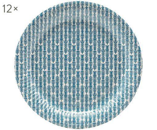 Piatti di carta Branch, 12 pz., Blu, bianco