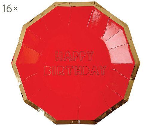 Talerz papierowy Happy Birthday, 16 szt., Czerwony, odcienie złotego