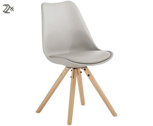Stühle Max mit Kunstleder-Sitzfläche, 2 Stück, Sitzschale: Beigegrau Beine: Buchenholz