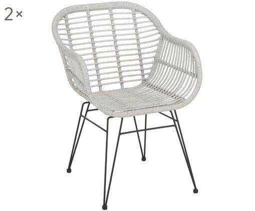 Krzesło z podłokietnikami Costa, 2 szt., Siedzisko: jasny szary, nakrapiany Stelaż: czarny, matowy