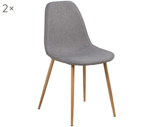 Gestoffeerde stoelen Wilma, 2 stuks, Poten: eiken Bekleding: lichtgrijs