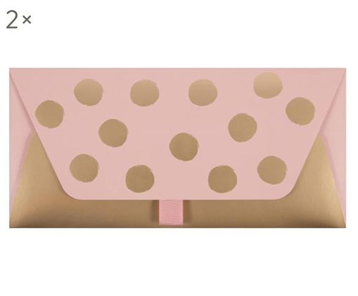 Buste regalo Dots, 2 pz., Rosa, dorato