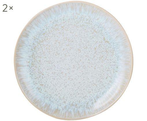 Handbemalte Frühstücksteller Areia, 2 Stück, Hellblau, Gebrochenes Weiß, Hellbeige