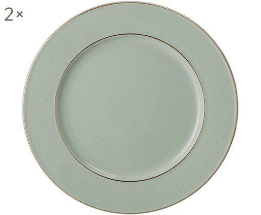 Piatto da portata Spina, 2 pz., Verde, dorato