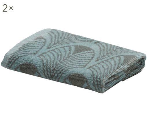 Asciugamano per ospiti Ashville, 2 pz., Blu menta, grigio