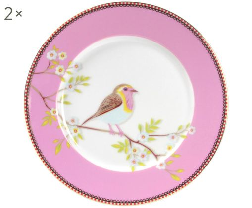 Frühstücksteller Floral, 2 Stück, Pink, Weiß