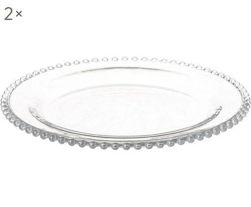 Assiettes plates Perles, 2pièces, Transparent